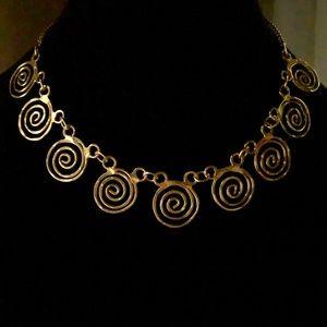 Gold Tone Circles and Swirls Choker Necklace
